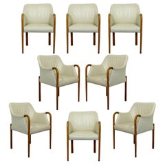Contemporary Modern Set 8 Giorgetti Progetti Style Italian Wood Dining Armchairs