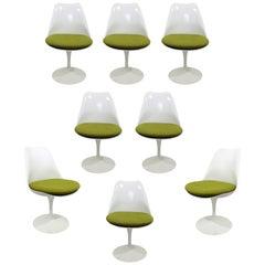 Contemporary Modern Set 8 Saarinen Knoll White Tulip Side Swivel Chairs DWR