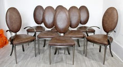 Contemporary Modern Set DIA 8 Brown Leather Aluminum Dining Chairs