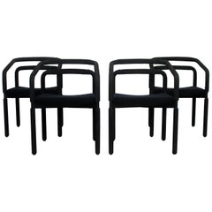 Contemporary Modern Set of 4 Black Dining Armchairs Metropolitan Knoll, 1980s