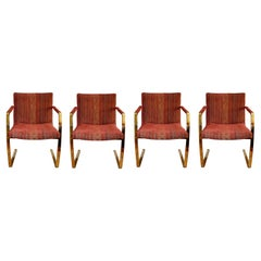 Contemporary Modern Set of 4 Brass Cantilever Dining Armchairs by Pace, 1980s