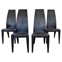Contemporary Modern Set of 4 Gazelle Style Rattan Weave Side Dining Chairs 1980s