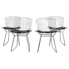 Contemporary Modern Set of 4 Side Wire Chairs by Harry Bertoia for Knoll, 1990s