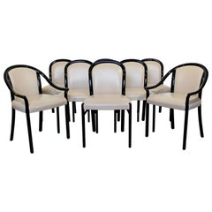 Contemporary Modern Set of 8 Stendig Italian Black Lacquer Curved Dining Chairs