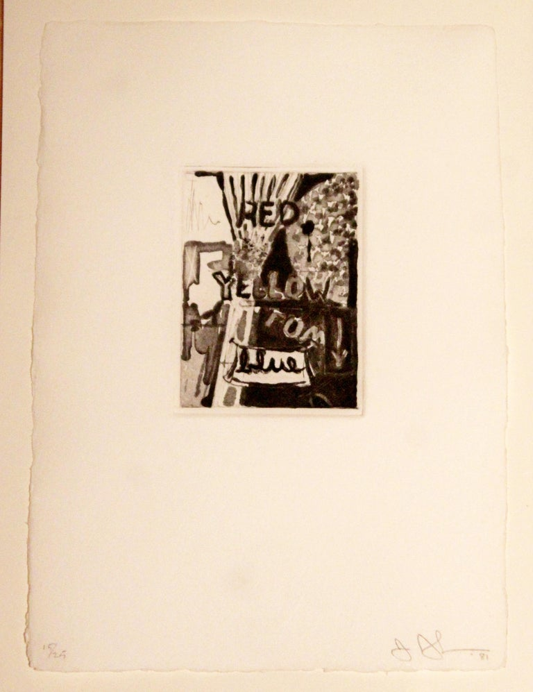 For your consideration is a gorgeous set of three, framed lithographs, signed, dated 1981 and numbered 15/25 by Jasper Johns. In excellent condition. The dimensions of each frame are 12