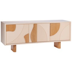 Contemporary Modern Sideboard Olga with Textured Doors in oak and beige by Mambo