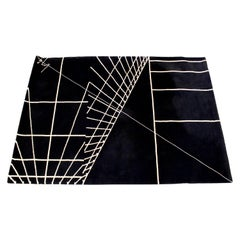 Contemporary Modern Signed Black Rectangular Area Rug Carpet 1980s Geometric