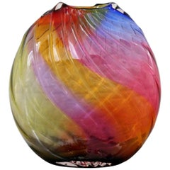 Contemporary Modern Signed Rainbow Murano Glass Sculpture Vessel Vase, Italy