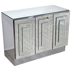 Contemporary Modern Small Ello Mirrored Glass 3-Door Credenza Cabinet, 1980s