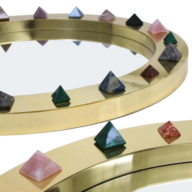 Mid-Century Modern Contemporary Modern Spanish Circular Brass and Semi Precious Stones Mirror For Sale