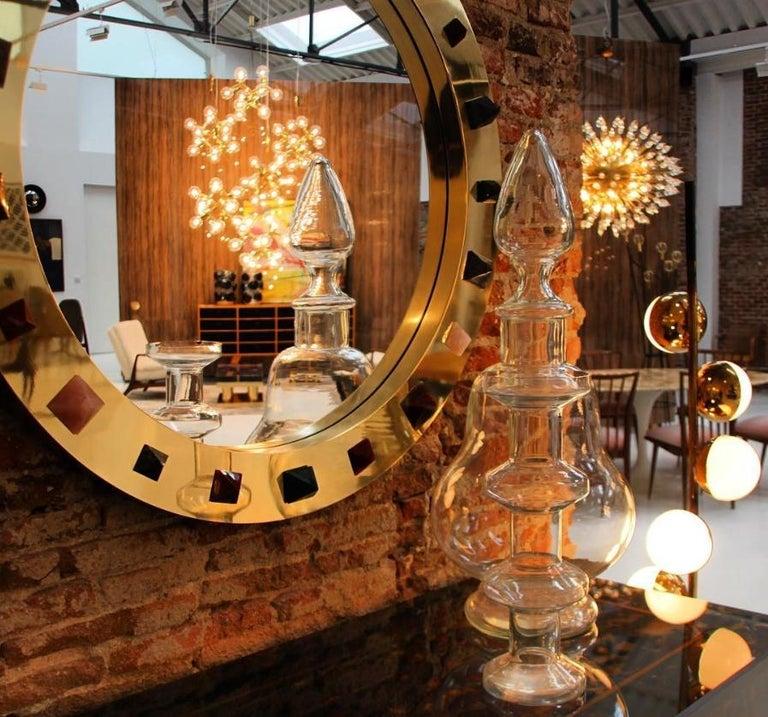 Contemporary Modern Spanish Circular Brass and Semi Precious Stones Mirror For Sale 2
