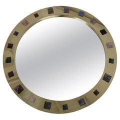 Contemporary Modern Spanish Circular Brass and Semi Precious Stones Mirror