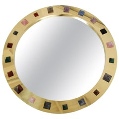 Contemporary Modern Spanish Circular Brass and Semi Precious Stones Mirror