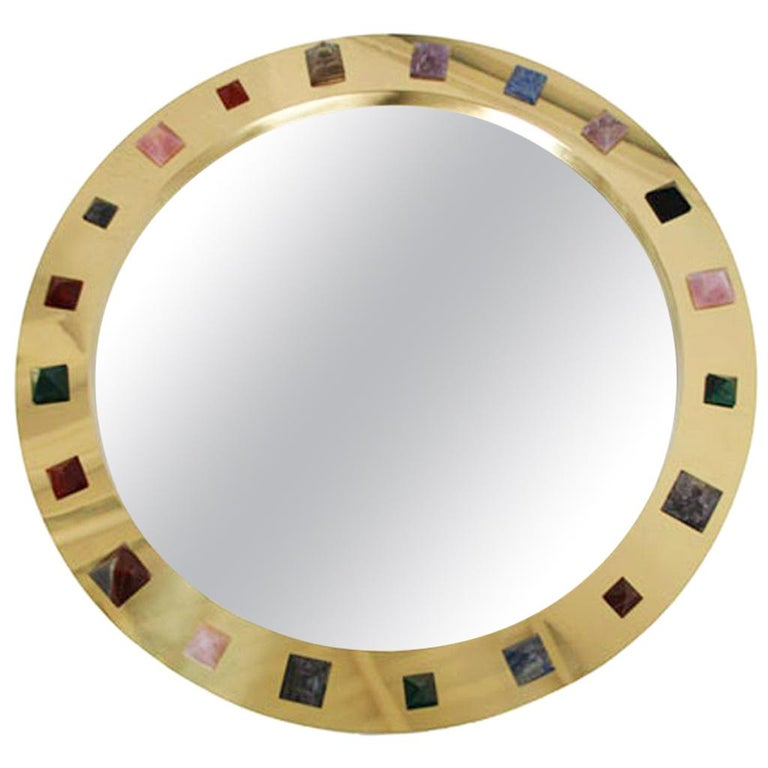 Contemporary Modern Spanish Circular Brass and Semi Precious Stones Mirror For Sale