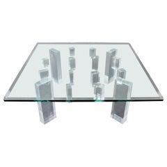 Contemporary Modern Square Glass Lucite Coffee Table 1980s Hollis Jones Era