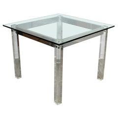 Contemporary Modern Square Glass Lucite Dinette Game Table Hollis Jones Era