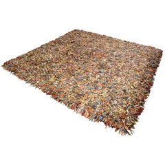 Contemporary Modern Square Patchwork Leather Area Rug Carpet, 1980s