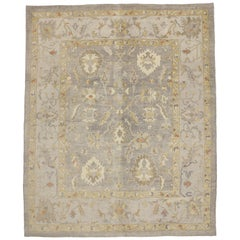 Contemporary Modern Style Turkish Oushak Area Rug with Neutral Warm Colors