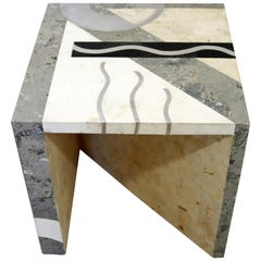 Contemporary Modern Tavola Oggetti Cube Marble & Chrome Side Table 80s Italy