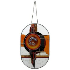 Contemporary Modern Toland Sands Stained Glass Wall Art Hanging Sculpture 1980s