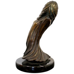 Contemporary Modern Tom Bennett Signed Bronze Marble Table Sculpture Surrealist