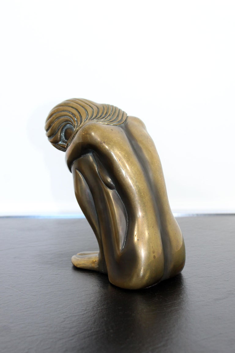 For your consideration is a moving, bronze art table sculpture of a nude woman, entitled