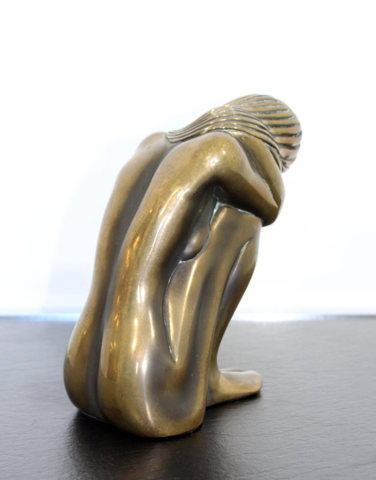 Contemporary Modern Tom Bennett Signed Bronze Table Sculpture 94/250 Solitude In Good Condition For Sale In Keego Harbor, MI