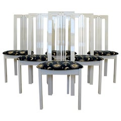 Contemporary Modern Tonon Set 6 Cream Lacquer Side Dining Chairs, 1990s, Italy