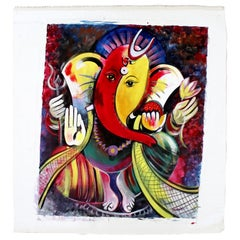 Contemporary Modern Unframed Oil on Canvas Painting Lord Ganesha Signed Mamata