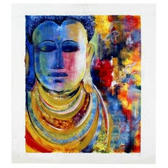 Contemporary Modern Unframed Oil on Canvas Painting of Buddha Signed Mamata