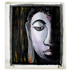 Contemporary Modern Unframed Original Oil on Canvas Painting of Buddha by Mamata