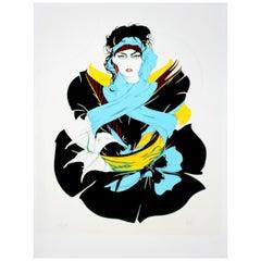 "Contemporary Modern Unframed Print Signed Steve Leal ""Tia"", 1980s"