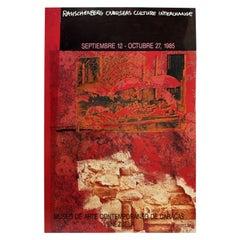 Contemporary Modern Unframed Rauschenberg 1985 Overseas Poster Venezuela Red