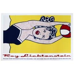 Contemporary Modern Unframed Roy Lichtenstein Girl w Ball Pop Art Vintage Poster