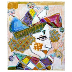 Contemporary Modern Unframed Signed Bartavsky Untitled Clown Pastel Art, 1990s