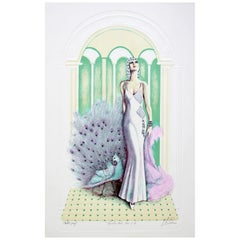 Contemporary Modern Unframed Signed Litho AP Enchanted Evening Woman in Gown