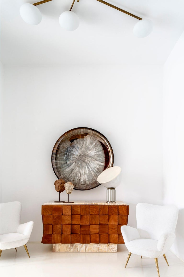Contemporary Modern Unique Sculptural Concave Brown Glass French Mirror For Sale 5