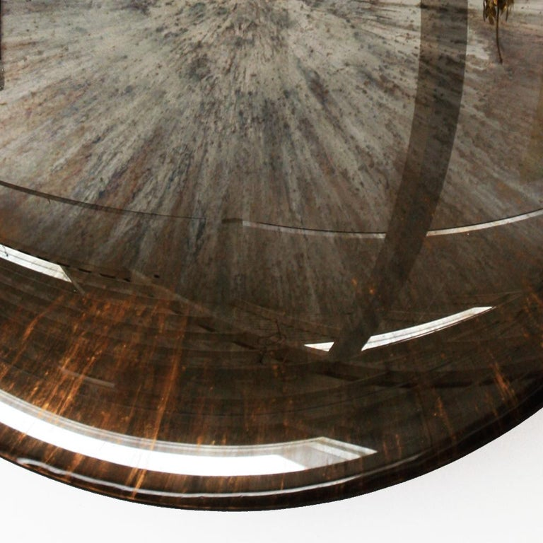 Hand-Carved Contemporary Modern Unique Sculptural Concave Brown Glass French Mirror For Sale