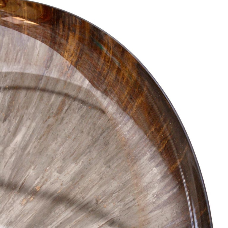 Brass Contemporary Modern Unique Sculptural Concave Brown Glass French Mirror For Sale