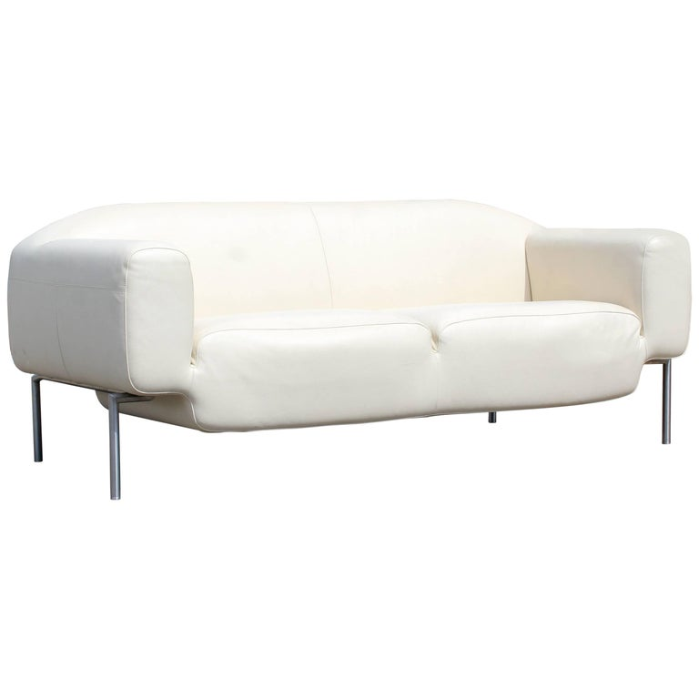 Contemporary Modern White Leather Sofa On Steel Frame B Minotti Style Italian For