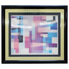Contemporary Modern Yaakov Agam Framed Agam-O-Graph Three Movement Signed 72/99