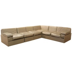 Contemporary Modernist 6 Pc Modular Gray Leather Sectional Sofa by Cumberland
