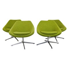 Contemporary Modernist Allermuir Set of 4 Swivel Lounge Chairs on Chrome Bases