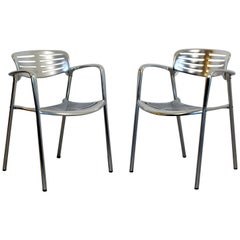 Contemporary Modernist Aluminum Pair of Chairs Toledo by Jorge Pensi Spain 1980s