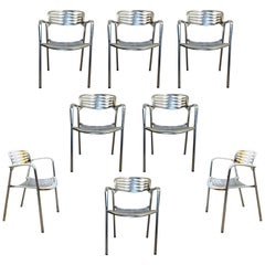 Contemporary Modernist Aluminum Set of 8 Chairs Toledo by Jorge Pensi, Spain