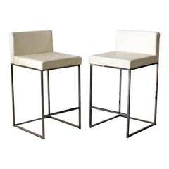 Contemporary Modernist Calligaris Pair of Brushed Aluminum Counter Stools