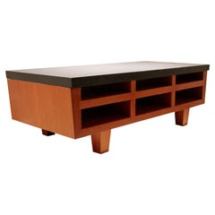 Contemporary Modernist Cement Wood Shelving Table Frank Lloyd Wright Style