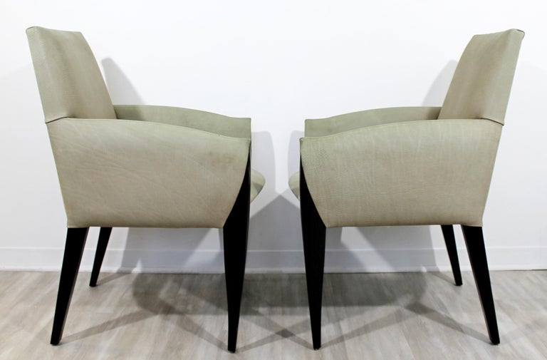 Contemporary Modernist Dakota Jackson Pair of Leather Lounge Armchairs In Good Condition For Sale In Keego Harbor, MI