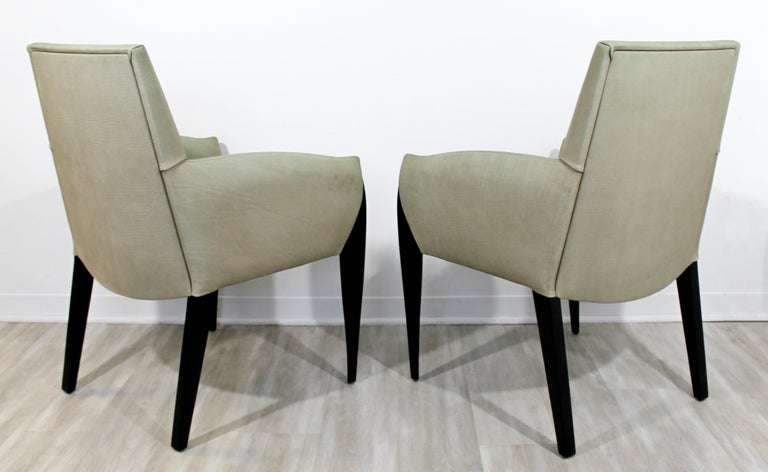 20th Century Contemporary Modernist Dakota Jackson Pair of Leather Lounge Armchairs For Sale