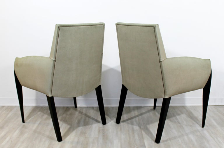 Contemporary Modernist Dakota Jackson Pair of Leather Lounge Armchairs For Sale 1